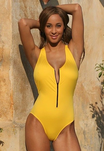 Sexy UjENA T-Back Wet Suit Zip Front 1-PC Swimsuit 2-20 BLACK or YELLOW 1472