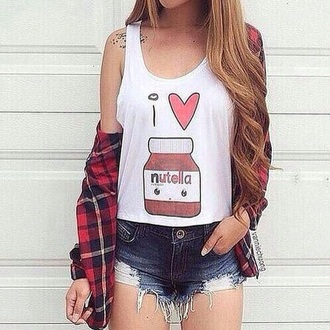 shorts tank top heart summer outfits pattern food