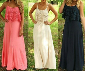 dress pink black white maxi maxi dress pretty long flowers lace flower lace spaghettistrap style