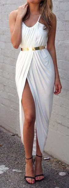dress white white dress sexy slit blue blue dress belt
