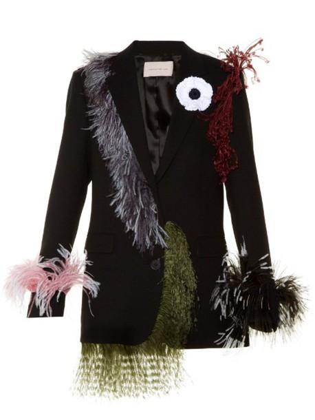 CHRISTOPHER KANE Feather-embellished notch-lapel blazer in black