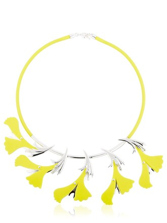 necklace silver yellow jewels
