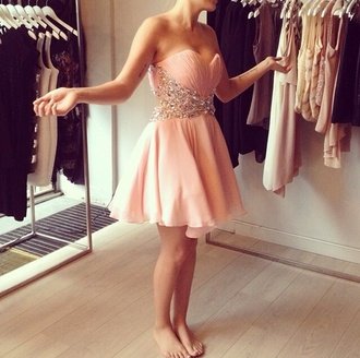 dress nude pearl jewels prom dress short prom dress