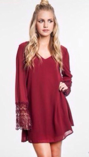 dress burgundy baggy loose sheer lace dress