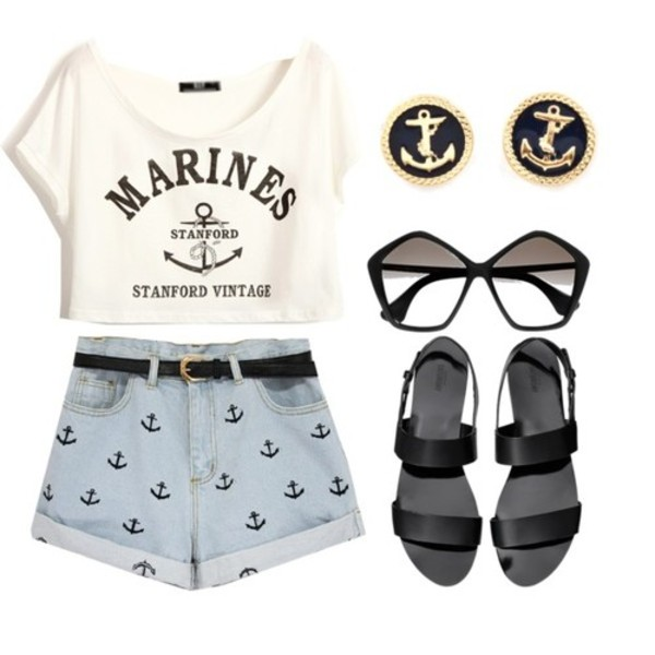 top crop tops crop tops crop tops cropped marines stanford white anchor anchor shirt short top sunglasses jeans shorts hat sailor