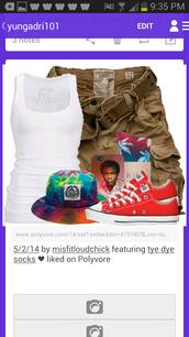 hat,bucket hat,shoes,tank top,khaki shorts,iphone case,huff socks,shorts,huf
