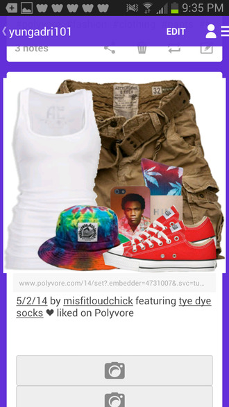 hat bucket hat shoes tank top khaki shorts iphone case huff socks shorts huf