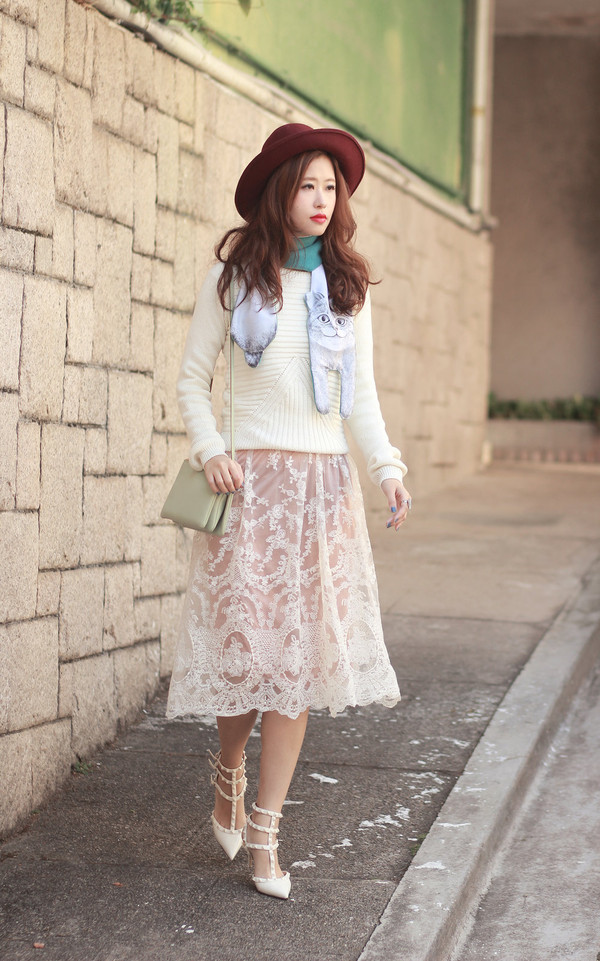 mellow mayo hat scarf jewels sweater skirt bag shoes jacket