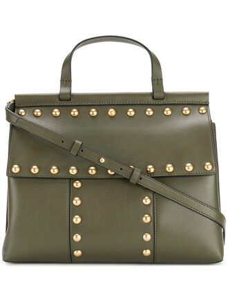 satchel studded women leather green bag