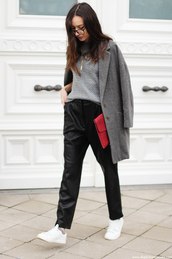 the fashion cuisine,blogger,boyish,red bag,grey coat,winter outfits,coat,sweater,pants,shoes,bag,jewels,french girl style
