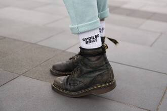 jewels shoes jeans drmartens hipster hippie indie skinny underwear swimwear spolied brat socks boots white socks style quote on it white pants black mint spoiled brat casual nice fashion