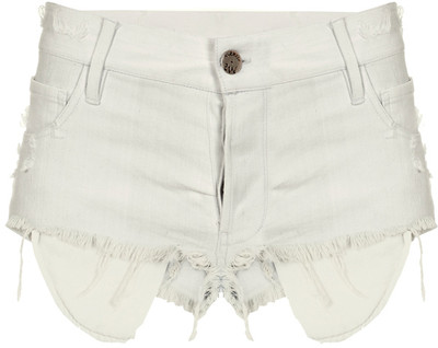 Maurie&Eve White Denim Ripped Pockets Shorts - Polyvore