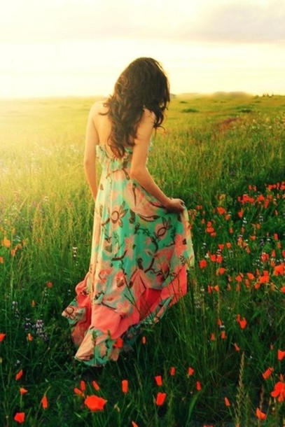 Dress Clothes Cute Long Dress Flowers Lovely Floral