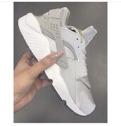 grey,sneakers,brand,trendy,fashion,dope,tumblr,outfit,shoes,huarache,women's nikes,nike shoes,fly,nike,grey shoes,white,gold,chain,light grey hurache nikes