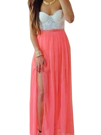 Nextshe women's fashion sexy strapless lace chiffon stitched dress high slit clothing for casual pary cocktail