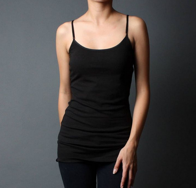 Women Basic Adjustable Spaghetti Strap Long Tank Top Cami Black Plus