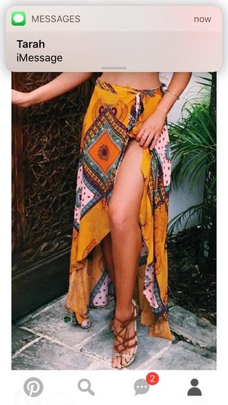 skirt yellow boho bohemian maxi skirt flowy
