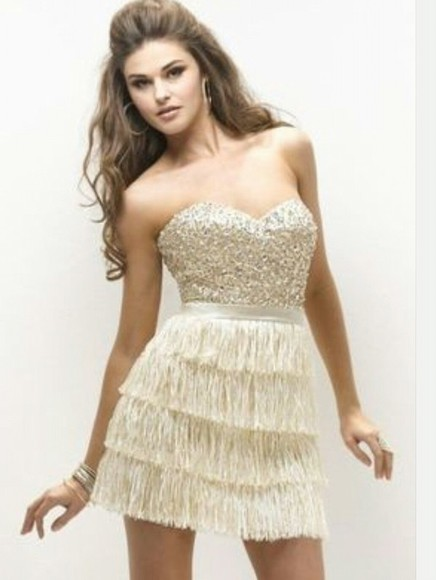dress cream dress rhinestones fringe