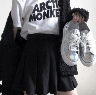 shoes silver artic monkeys tumblr shoes