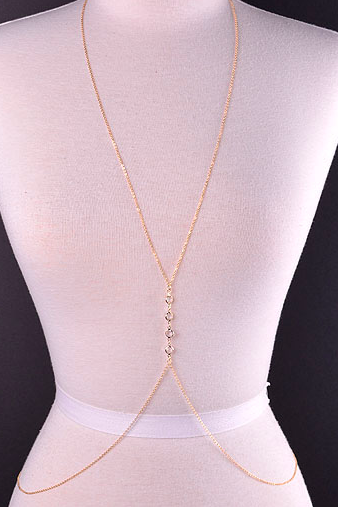 Elegant Clear Center Stone Chain Link Body Chain