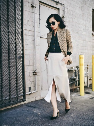 hallie daily blogger jacket slit skirt beige skirt tartan