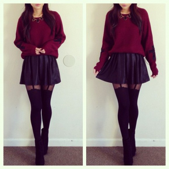 skirt sweater socks girly shoes necklace