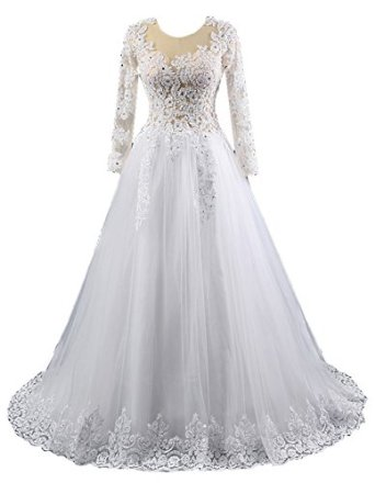 Livresse Womens Aline Long Sleeves Beads Applique Lace Wedding Dress