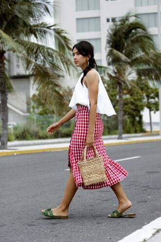 skirt tumblr midi skirt red skirt gingham top white top white crop tops crop tops slide shoes bag basket bag shoes gingham skirt asymetrical skirt