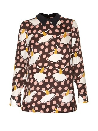 shirt print silk brown top