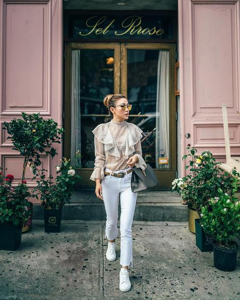 not jess fashion blogger blouse jeans belt shoes bag ruffle blouse sheer blouse sneakers spring outfits