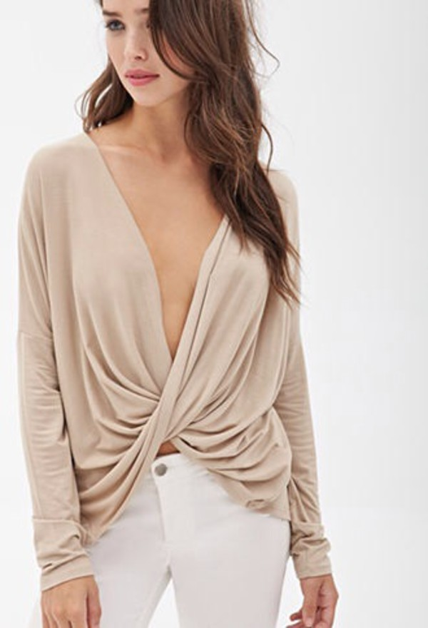 sexy nude draped top summer outfits nude top sexy top spring outfits summer top spring top wavy hair blouse