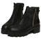 Black chunky heel zipper boots