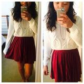 sweater,cream,cream sweater,cropped sweater,crop tops,mabell,skirt