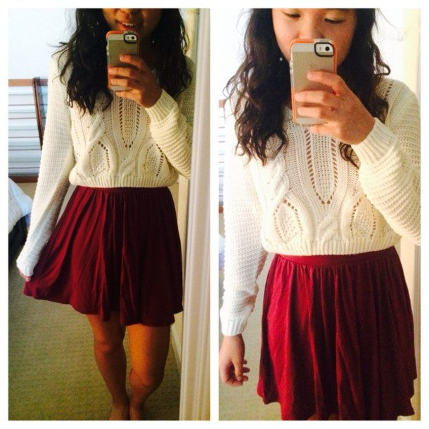 sweater cream cream sweater cropped sweater crop tops mabell skirt