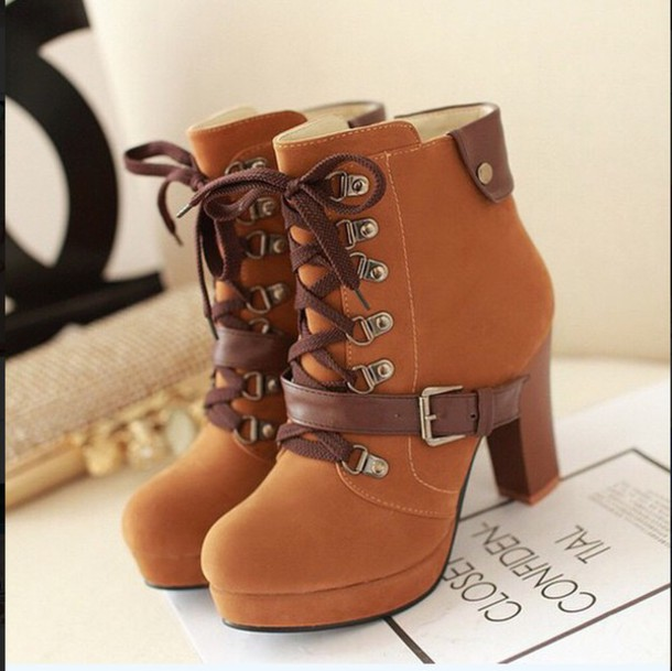 162a14d502 booties heels lace up ankle boots cute booties black platform shoes high  heels kawaii japanese streets