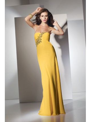 Sheath Strapless Beading Chiffon Floor Length Yellow Prom Dress
