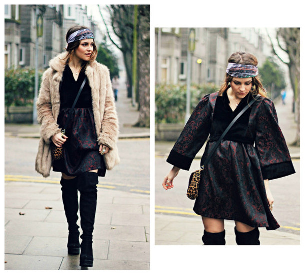 the little magpie blogger folk faux fur coat printed scarf boho gypsy winter dress thigh high boots