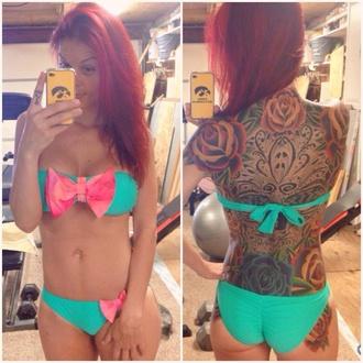 swimwear bikini bikini bottoms bikini top beach bows tattoo pink pink bows blue blue bikini gorgeous summer outfits