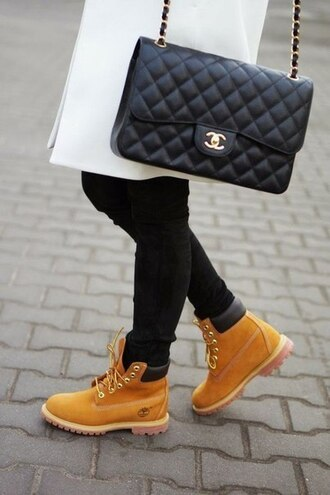 yellow fashion bag chain girly brown leather boots skinny jeans chanel black white coat jullnard quilted