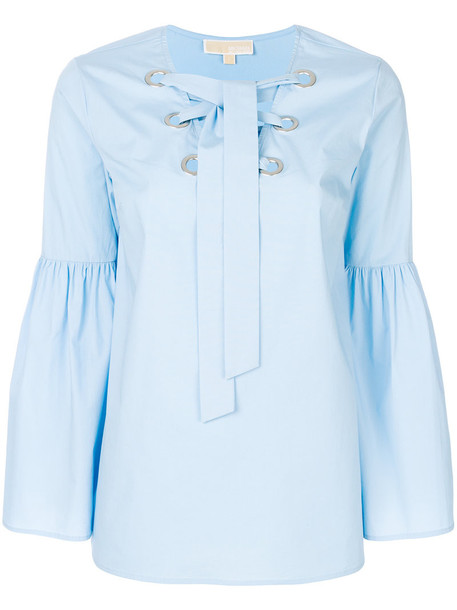 blouse women spandex cotton blue top