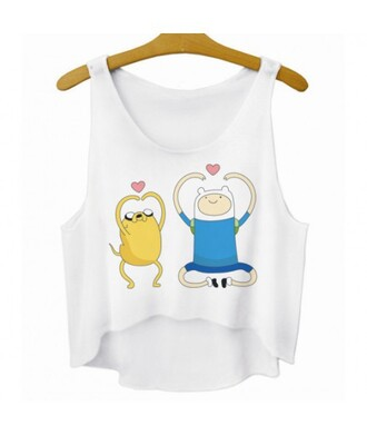 tank top fashion cute trendy style white advanture time sleeveless crop top summer sporty kawaii teenagers it girl shop top cartoon adventure time