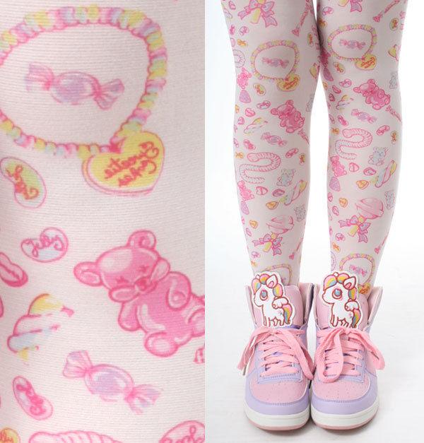 Harajuku decora kawaii sweet cosplay lolita lollipop jelly bean candy tights cos