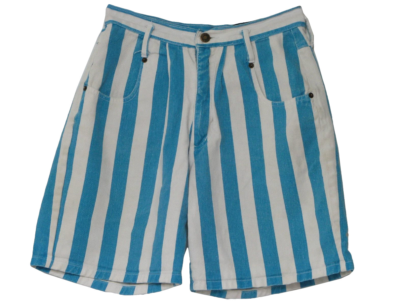 Womens white and teal vertical stripe print cotton jean shorts with four pockets, pleated waistline and button/zip closure.