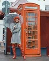 dress,turtleneck dress,mini dress,knitted dress,grey dress,knee high boots,beret,umbrella