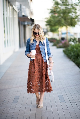 gbo fashion blogger dress jacket shoes bag sunglasses midi dress lace dress denim jacket shoulder bag sandals spring outfits