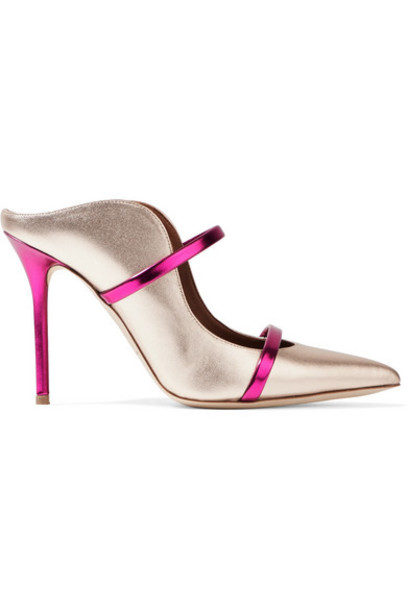 Malone Souliers - Maureen Two-tone Metallic Leather Mules - Silver