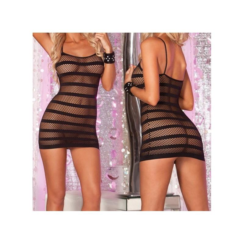 Women's See Through Strip Net Night Wear Dress Plus Size G ...