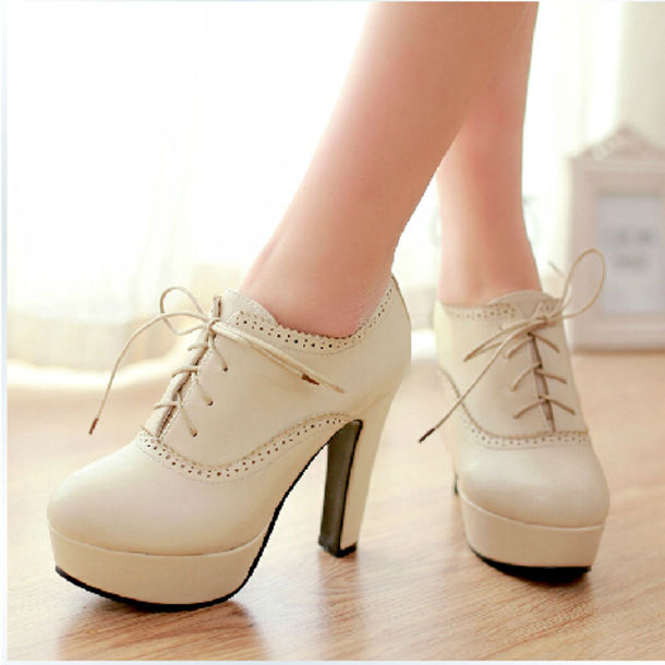 shoes high heels ankle boots oxfords beige beige shoes lace-up shoes platform lace up boots white black booties