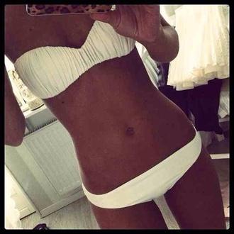 swimwear white bikini white bikini girly pretty beautiful bandeau