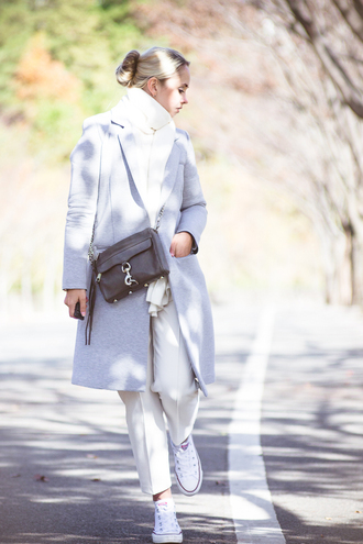 my blonde gal blogger bag jewels scarf off-white grey coat converse straight pants
